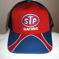 STP Racing Red, Blue, Black mesh w/white piping ball cap, new w/tag