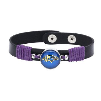 10pcs/lot! Adjustable Premium Leather Ginger Snaps Bracelet with a Baltimore Ravens 18mm Snap  for Men,Women and Teens