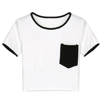 Black Chest Pocket Cropped Ringer Tee