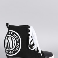 Canvas High Top Lace Up Wedge Sneaker