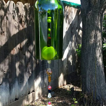 Whimsical Upcycled Wine Bottle Wind Chime/Repurposed Bottle Garden Art/Recycled Winery Beaded Wine Bottle/Sun Catcher Wine Art/Inspirational