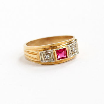 Vintage 14k Yellow, White Gold Diamond & Created Ruby Ring - Retro Size 5 3/4 Wide Band Anniversary Three Stone Red Pink Gem Fine Jewelry