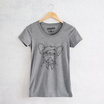Pierre the French Bulldog - Tri-Blend Women's Fitted Crew Neck Shirt
