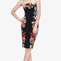 Strapless Placed Floral Print Tube Dress from EXPRESS