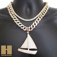 """14k Gold PT Lil Yachty QC Iced Out Miami Cuban 16""""~20"""" Choker Chain Necklace H01"""