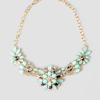 Heathcliff Gardens Jeweled Necklace In Turquoise