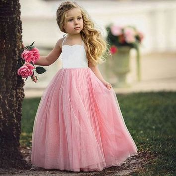 Gorgeous Halter Top and Tulle Flower Girl/Birthday/Special Occasion Little Girl Dress.   In Sizes 3T, 4T, 5, 6 and 7.