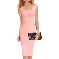 Women's Elegant Square Neck Tunic Sleeveless Wear to Work Business Office Casual Bodycon Stretch Fitted Dress