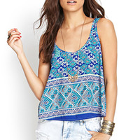 FOREVER 21 Abstract Flare Tank Navy/Turquoise