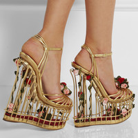 Dolce & Gabbana | Rose-embellished metallic leather cage sandals | NET-A-PORTER.COM