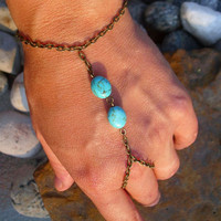 Slave Bracelet Bohemian Indie Two Turquoise Stone Bronze Chain Gypsy Finger Bracelet Chic Boho Ring Hand Adornment
