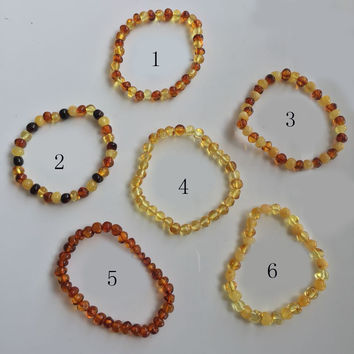 8 Colors New Amber Jewelry Gifts Stretch Bracelet Amber Bead Certificate Genuine Baltic Natural Amber Bracelet Without Clasp