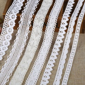 New 5 yard Vintage Cotton Crochet Lace Trim Home Curtain Bridal Ribbon Curtain Craft DSBG