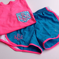 Monogrammed Chevron Pocket Tee and Running Shorts-Youth