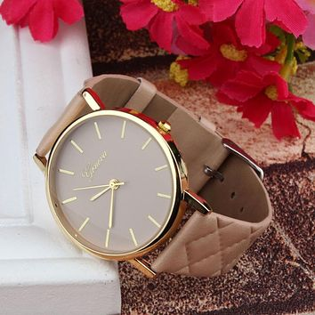 Women Checkers Faux lady dress watch