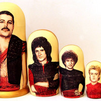 Freddie Mercury Queen matreshka traditional russian nesting doll made curved painted hand wood linden decorative collectible holidaybirthday
