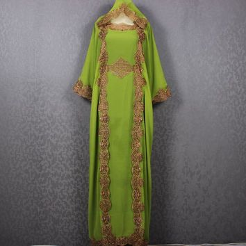 Hanukkah Special Hoodie Green Kaftan Dress Caftan Maxi Dress Wedding Bridesmaid Congregation Fancy Green Womens Dubai Gold Embroidery