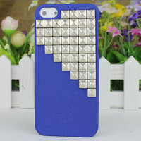 Blue Hard Case Cover With Silvery Stud for Apple iPhone5 Case, iPhone 5 Cover,iPhone 5 Case, iPhone 5g