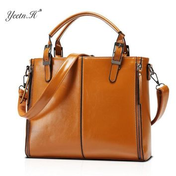 Yeetn.H New Fashion Genuine Leather Women Briefcase Vintage