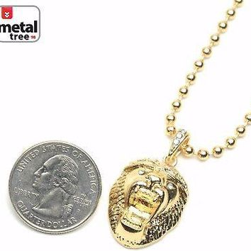 """Jewelry Kay style Men's Bling Iced Out Lion Head Pendant 20"""" Ball Chain Necklace Set MMP 811 G"""