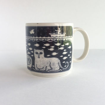 Vintage Taylor & Ng Primitive Cat and Fish Mug