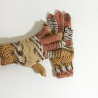 Hand Knitted Gloves - Beige and Brown, Size Medium