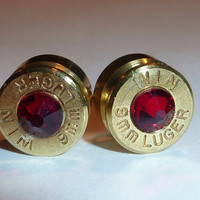 Bullet Earrings. January Birthstone Garnet .9mm Luger.  FREE SHIPPING