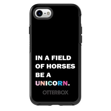 DistinctInk™ OtterBox Symmetry Series Case for Apple iPhone or Samsung Galaxy - In a Field of Horses, Be a Unicorn - Rainbow
