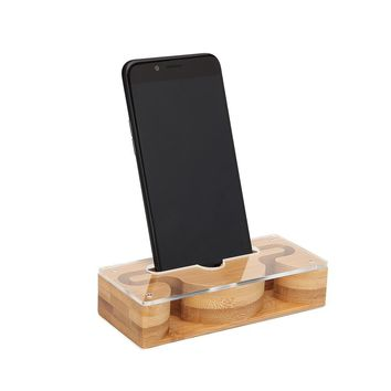 New Acrylic Mobile Phone Sound Reinforcement Base Mobile Phone Amplifier Holder Cellphone Stand Wood Holder