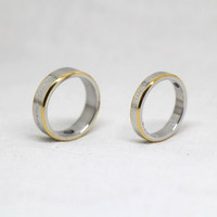 2pcs-Free Engraving,silver Ring,yellow ring, promise ring,couple Rings, Lovers rings