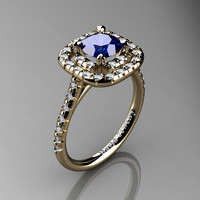 French 14K Yellow Gold 1.0 Ct Blue Sapphire Diamond Engagement Ring R1028-14KYGDBS