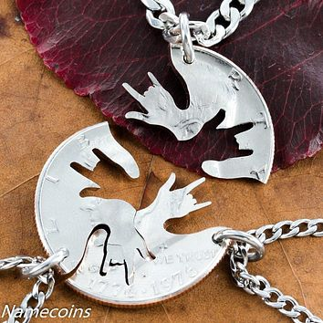 3 Best friends interlocking ASL love hands half dollar necklaces by Namecoins