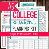 A5 Filofax-Student Planner-College Planner, Homework Planner, Printable-Filofax Insert-13 Sheets-Chevron-INSTANT DOWNLOAD & EDITABLE