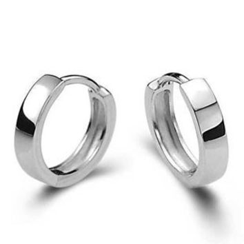 DAFU 100% 925 Sterling Silver Smooth round earrings Free shipping