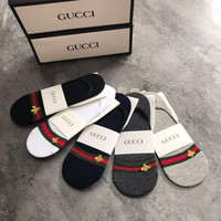 GUCCI Embroidery Bee No-Show Liner Sock - Boxed