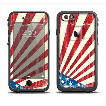 The Vintage Tan American Flag Apple iPhone 6 LifeProof Fre Case Skin Set