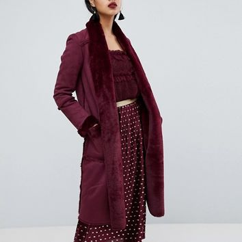 River Island Longline Faux Fur Coat at asos.com