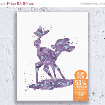 Bambi Print Disney Print Bambi Friends Bambi Art Watercolor Printable Art Disney Nursery Disney Wall Art Digital Download Art