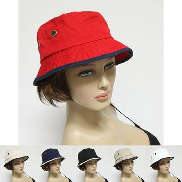 Bucket Hat Cap 100% Cotton Fishing 2 Tone Brim Hiking Sun Safari Womens Mens New
