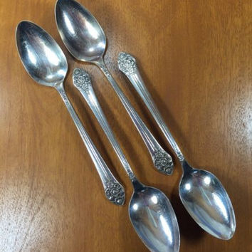 1881 Rogers Silverplate Plantation Oneida Ltd Set 4 Teaspoon Flatware OHSPLA
