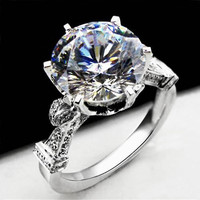 5 Carat ct F Color Engagement Wedding Lab Grown Moissanite Diamond  Ring With Real Diamond Accents Solid 14K 585 White Gold