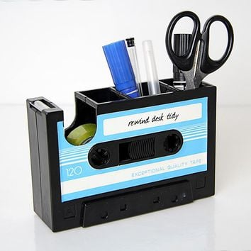 Vintage Cassette Adhesive Tape Holder Kawaii Pen Holder Creative Tape Seat Multifunction Stationery Gift School Office Supplier