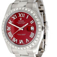 Fashion Mens DateJust II Rolex 116300 Diamond Watch 41mm Red Roman Numeral Dial 3 CT.