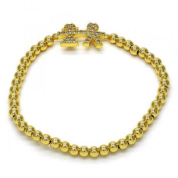 Gold Layered 03.207.0032.07 Fancy Bracelet, Little Girl and Little Boy Design, with White Cubic Zirconia, Polished Finish, Golden Tone