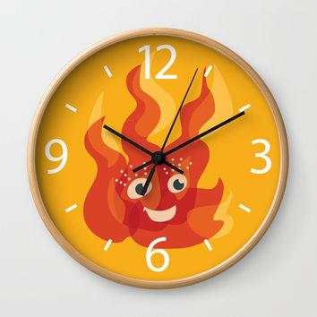 Happy Burning Cartoon Fire Wall Clock by borianagiormova
