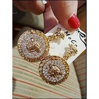 VERSACE : Baroque retro exaggerated diamond baroque earrings round lion head temperament earrings
