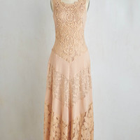 Vintage Inspired Long Sleeveless Maxi Paragon of Poise Dress by ModCloth