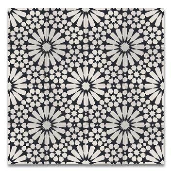 "Agdal 8"" x 8"" Handmade Cement Tile in Black/White"