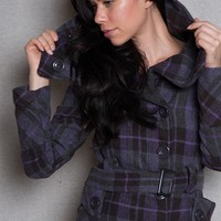 Deb Plaid Jacket With Belt And Removable Hood - Gray