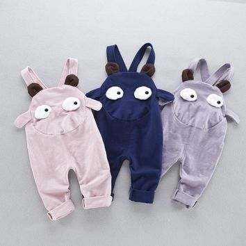 Spring Summer Baby Boy & Girl Overalls for Kids Cartoon Baby Clothing Cute Eyes Infant Pants 4-24 Month Baby Pants BKZ07